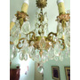 Antigua Araña Francesa En Bronce. Con Caireles, 8 Luces