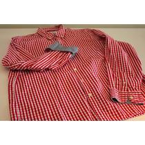 #28_camisa Sportwear Etiqueta Negra A Cuadros Blanco Y Rojo