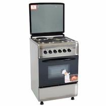 Cocina Electrica 4 Hornallas Acero 57-60 Cm.c C/horno