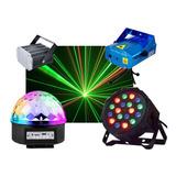 Combo Luces Led Dj Fiesta Bola + Proton 18 + Laser + Flash