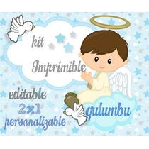Kit Imprimible Bautismo Angelito Varon Candybar 2x1 Celeste