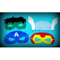 Mascaras Super Heroes Para Cumpleaños Pack X 4 Unidades