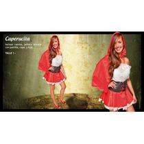 Disfraz Caperucita Roja Sexy Con Camisa Pollera Faja Capa