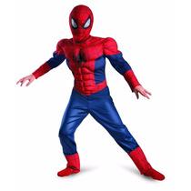 Disfraz Hombre Araña Spiderman Con Musculos Talle L 10 A 12