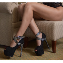 Zapato Mujer Encaje Negro Zapato Fiesta