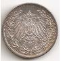 Alemania Imperio, 1/2 Mark, 1915 A. Plata. Sin Circular