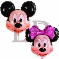 10 Globos Cabeza De Mickey Gigante Cumples 60 X 65cm Helio
