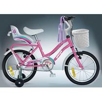Bicicleta Rodado 14 Nena Princesa C/portapaquete Y Canasto