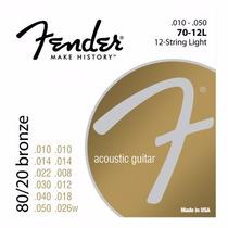 Encordado Fender P/acustica 70-12l Bronce 80/20 12 Cuerdas