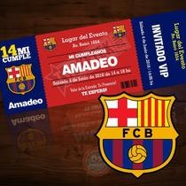 Tarjetitas De Invitación Fútbol / Cumpleaños / Barcelona