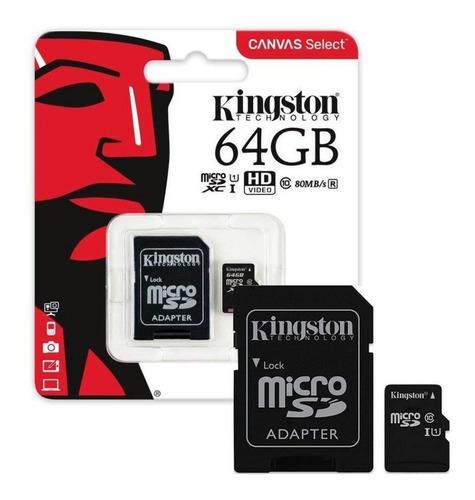 Memoria Micro Sd 64gb Clase 10 Kingston Full Hd Sdxc 80mb