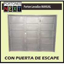 Porton Levadizo Manual De 2,55 X 2,05 Con Puerta De Escape.