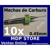 10 Mechas 0.45mm Carburo Router Cnc Pcb Minitorno Dremel 1/8