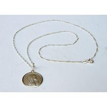 Medalla Virgen Niña Y Cadena En Plata 925
