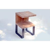 Mesa De Luz Moderna Hierro Y Paraiso - Carpinteria De Diseño