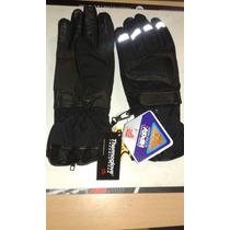 Guantes Moto Thermoglove Cuero Reflectivo Largos Abrigo