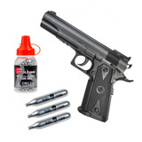 Pistola Co2 4.5 Stinger Black 1911 Acero Plastica No Blowbac
