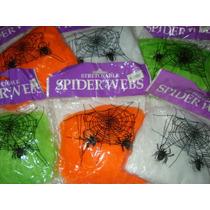 Telaraña Para Deco Halloween + 2 Arañas Varios Colores