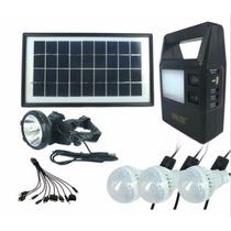 Kit Solar Portatil Panel Batería Lamparas Linterna Carga Usb