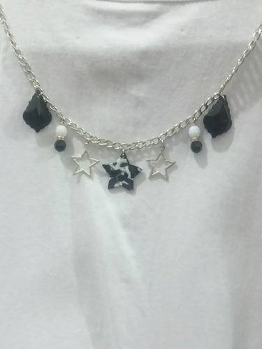 347d72170332 Collar Estrellas U Hojas Negro Blanco Dijes Local En Caba
