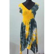Original Vestido Batic Verde Y Amarillo Hindu - Envios