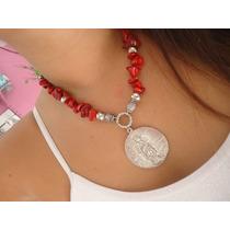 Collar Piedra Semipreciosa, Cadena De Aluminio Y Dije