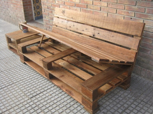 Sillon 3 cuerpos de madera de pallet palet 850 f70ur for Sillon terraza madera