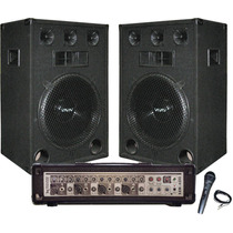 Amplificador De 9 Entradas + 2 Bafles De 15 Jahro Micrófono