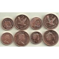 Serie De 4 Monedas De Malvinas Año 1998/2004 Pinguinos Aves