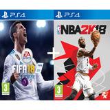 Fifa 18 + Nba 2k18 2018 Juego Playstation 4 Ps4 Stock