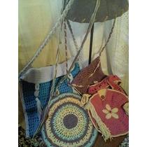 Carteras Tejidas Crochet Artesanales De Hilo Varios Colores
