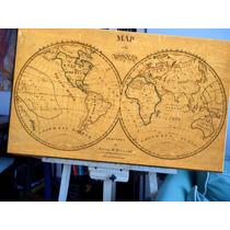 Mapa Antiguo Bastidor En Lienzo 80 Cm X 57 Cm Unicos