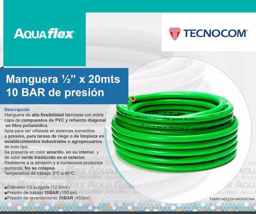 Manguera Riego 10 Bar Presión 1/2 X 20 Mts Man1220 Aquaflex