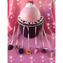 40 Dijes Cintas + Porta Dijes Cupcake Gigante15 Años+ Anillo