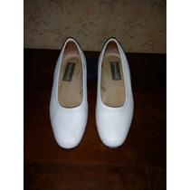 Zapatos Cuero Blanco Chatitas Nº.35 Nena Ideal Comunion