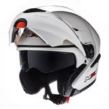 f52aee2c Casco Moto Rebatible Mac Fenix Blanco Brillo Doble Visor