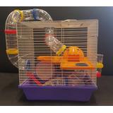 Jaula Para Hamster Topo Ruso Con Tubos Acrilicos 35x33x27cm