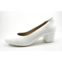 Zapato Negro Y Blanco Taco Separado Cuadrado Bajo 6100