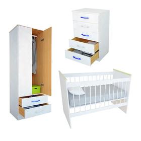 Combo Infantil Cuna + Placard 2 Puertas + Chifonier Bl