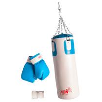 Kit Boxeo Bolsa C/relleno Cadenas Guantes Vendas Adn Fitness