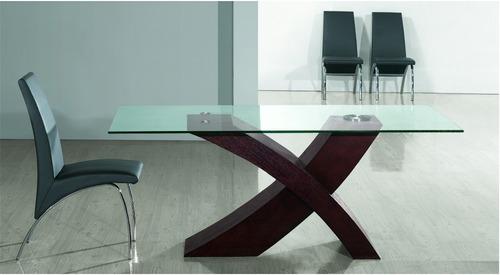 Mesas de cristal y madera para comedor latest mesas for Mesa de comedor de vidrio rectangular