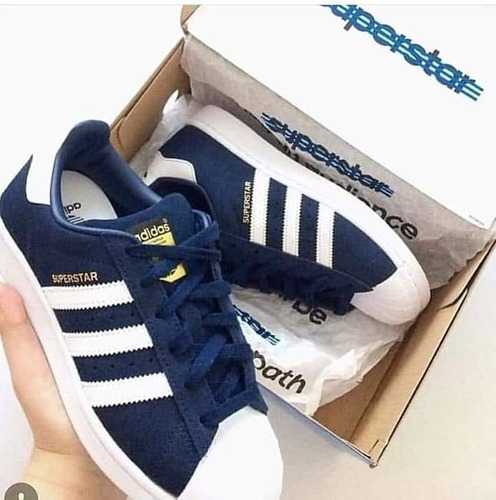 486b71740c Zapatillas adidas Superstar Azules Dama Entrega Inmediata