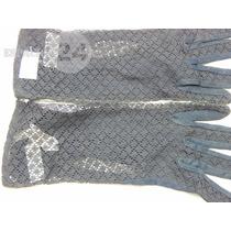 Guantes P/dama Cortos Nuevos Color Negro De Algodón Encaje