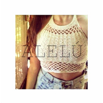 Crop Top Tejido Trapecio Crochet Espectacular