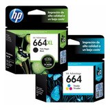 Cartucho Hp 664xl Negro + 664 Color Original 2135 2675 Combo