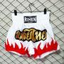 Shorts Muay Thai Rihen Blanco Llamas Rojas Box Inn Office