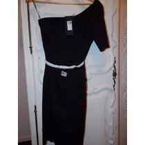 Vestido Negro Las Oreiro Con Cinto Blanco -black Sale!!!