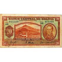 Billete De Bolivia - 20 Bolivianos - 1928 - En Mendoza