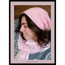 Gorro Caido Mujer Niños Lana Tejido Crochet Artesanal