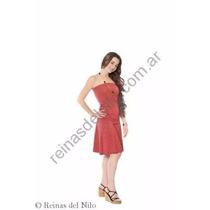 Falda Evasé Corta Modal Elastizado Con Brillo Color Rojo